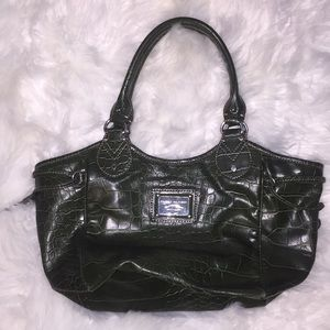 Tommy Hilfiger green faux reptile bag purse.
